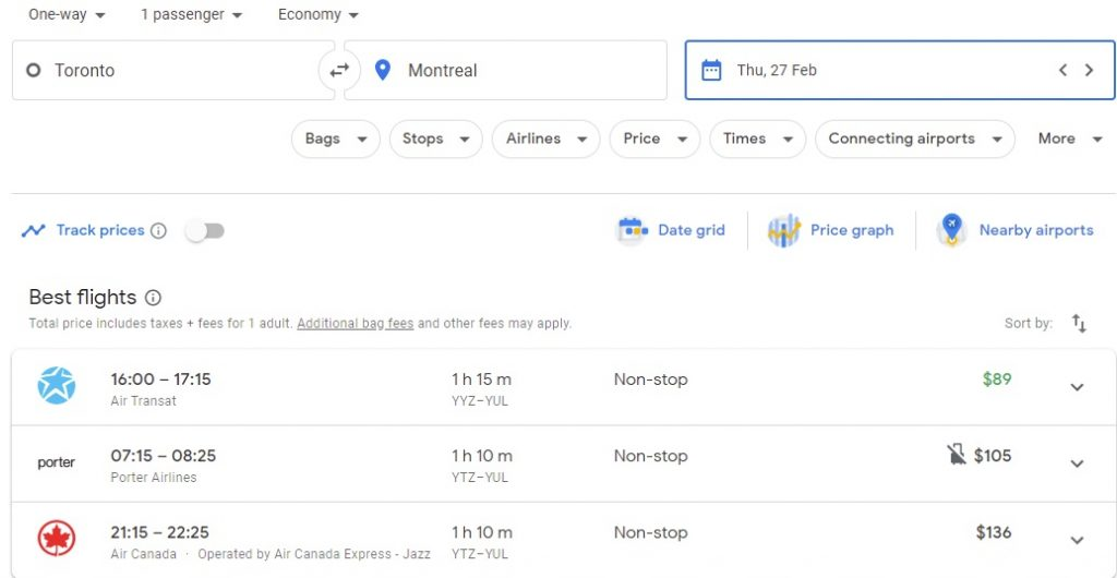 Toronto to Montreal Flights